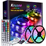 LED Strip Light Kit Waterproof 300 LEDs 5050 RGB 10m 32.8ft Strips Lighting Flexible Color Changing with 44 Keys IR Remote Co