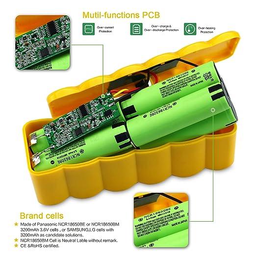 Batería de Repuesto 14,8V 6400mAh Li-ion para iRobot Roomba 500 600 700 800 serie: Amazon.es: Hogar