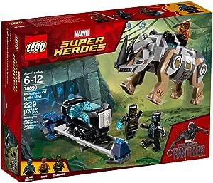 لعبة مواجهة تتضمن وحيد القرن من فيلم بلاك بانثر لعالم مارفل سوبر هيروز من ليغو 76099