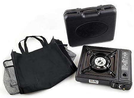 Estufa de Gas para Camping Cocina portátil de un Solo Quemador Exterior 2.3kW Bag Case NJ-153