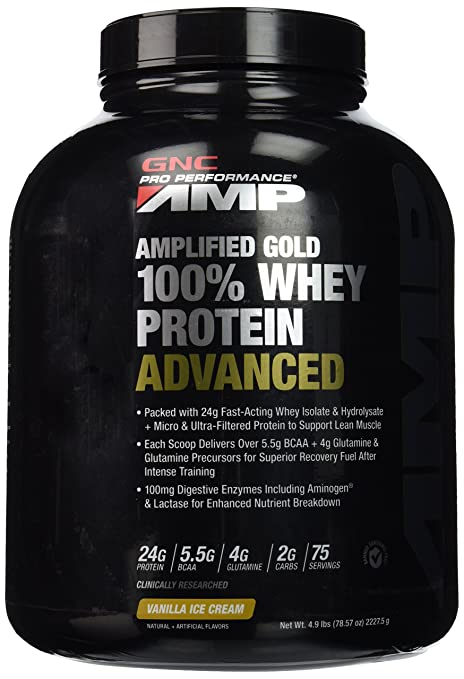 GNC PP Amplified Gold 100 percentage Whey Protein Advanced Powder - 2227.5g (Vanilla Ice Cream) Sports Supplements at amazon