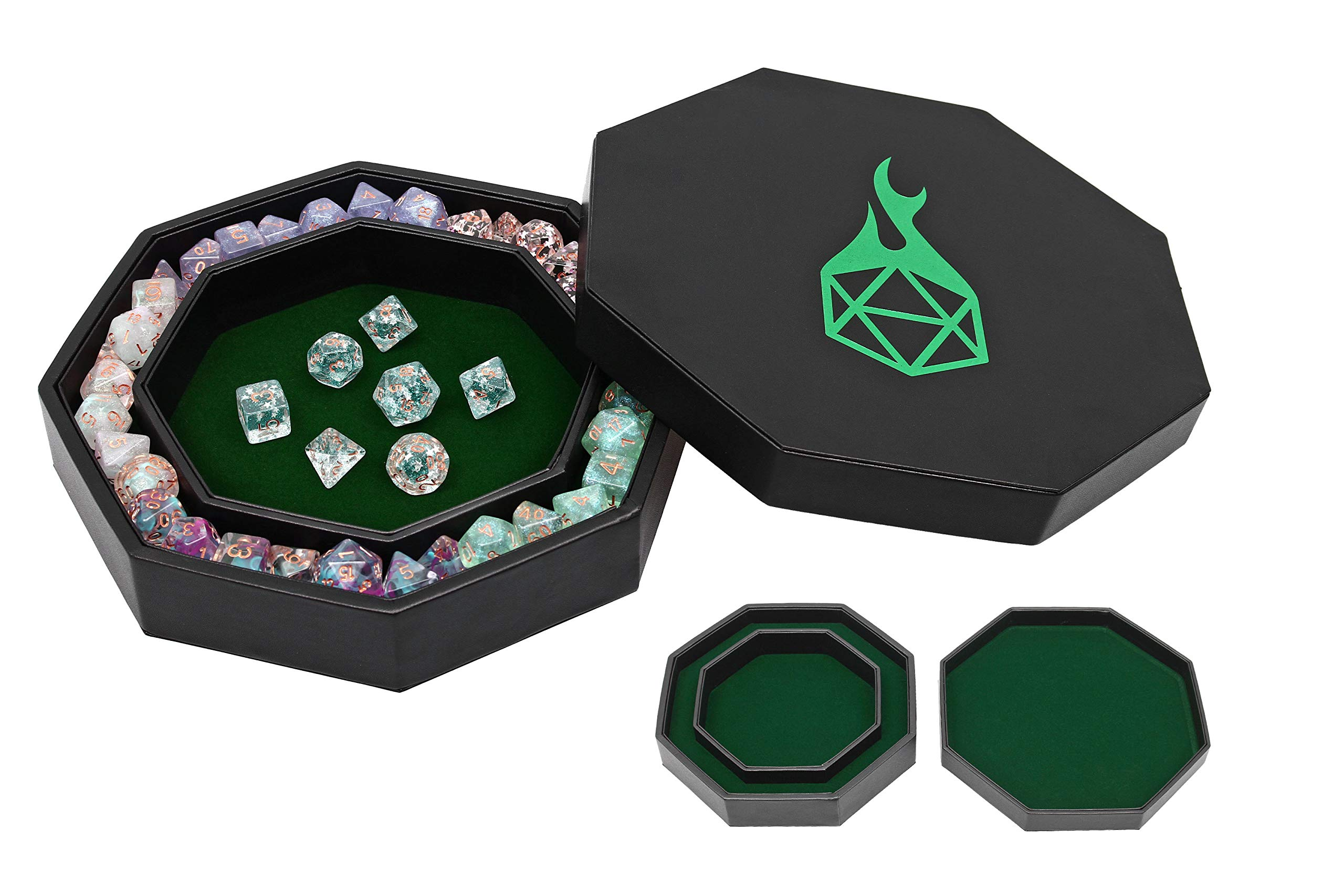 Forged Dice Co. Dice Tray Arena Rolling Tray and Storage Compatible with Any dice Game, D&D and RPG Gaming (Green) by Forged Dice Co.