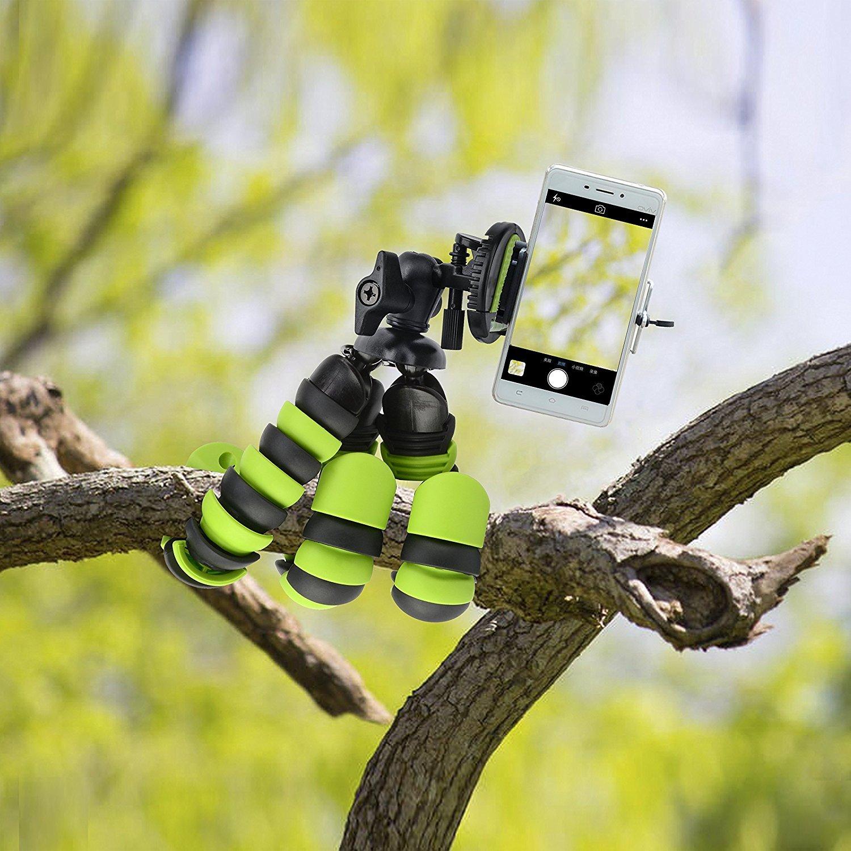 Tripod flessibile da 12 pollici Tairoad con gamba piegabile e adattatore per smartphone gratuito e per montaggio Gopro Treppiede di viaggio migliore (verde + nero)