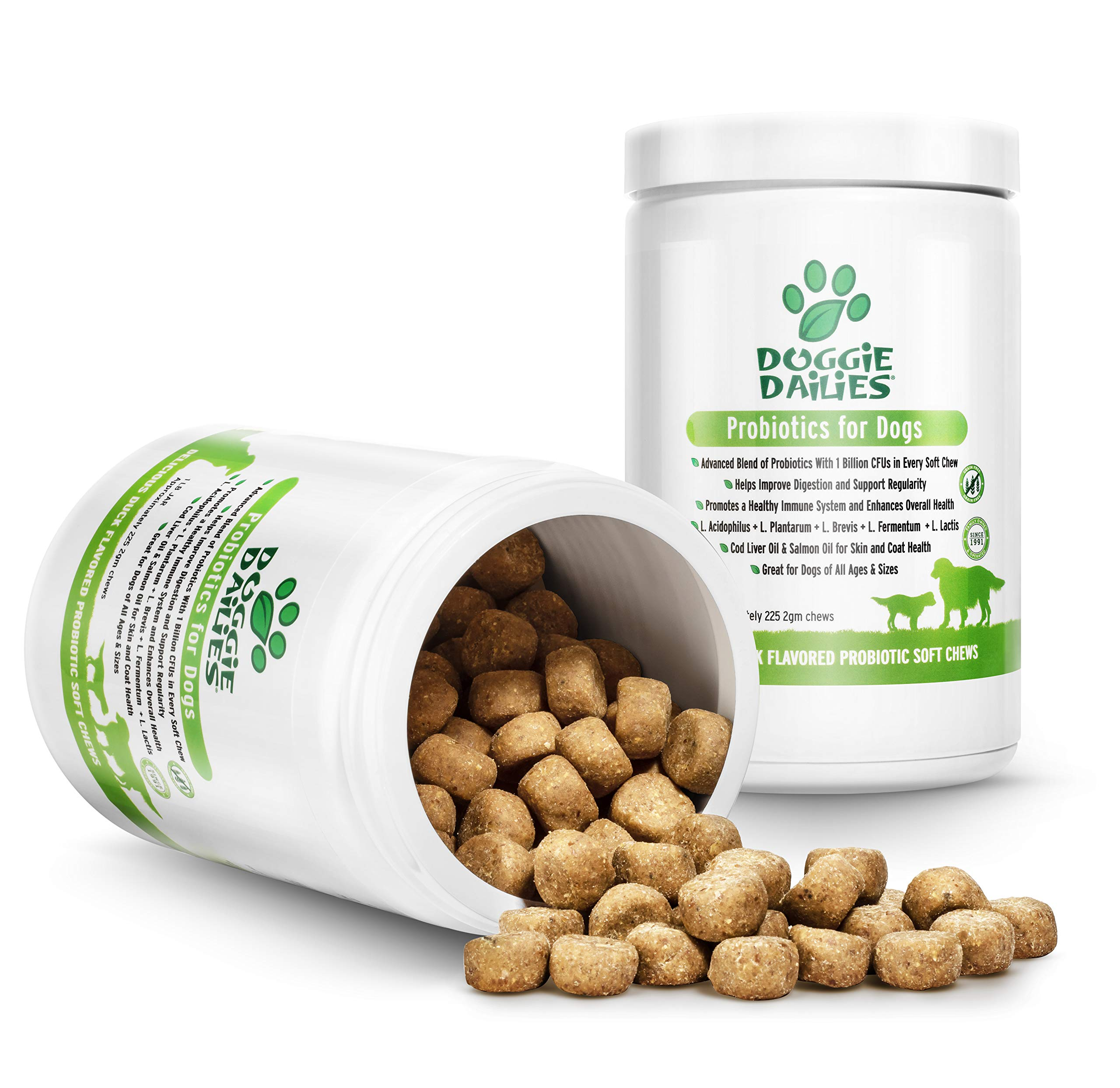 Doggie Dailies Probiotics for Dogs, 225 Soft Chews, Advanced Dog Probiotics with Prebiotics, Relieves Dog Diarrhea, Improves Digestion, Enhances Immune System, Improves Overall Health, Made in the USA by Doggie Dailies