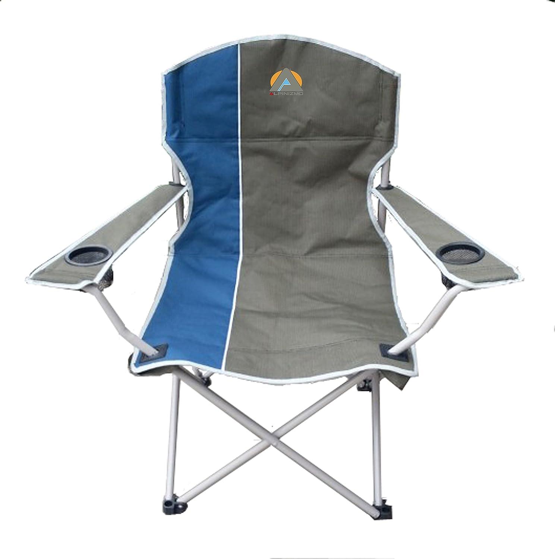 Large 1000 Blue//Grey Alpinizmo High Peak USA Folding Quad Camp Chair
