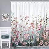 SUMGAR Flower Shower Curtain Bathroom Colourful Blossom Polyester Fabric Washable Floral Farmhouse Cloth Romantic Wildflower