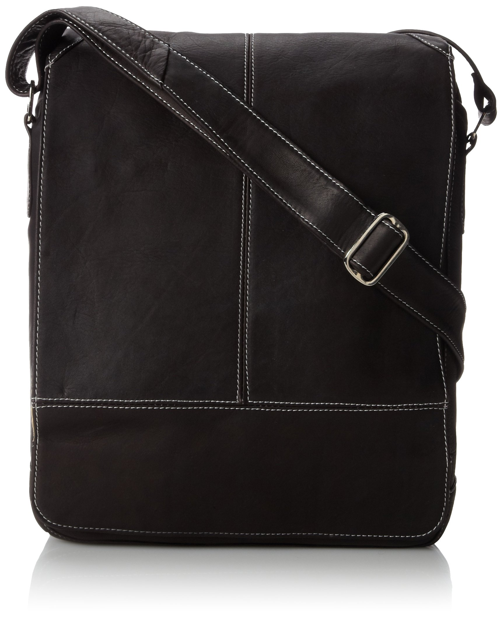 Piel Leather Urban Vertical Messenger Bag, Chocolate, One Size