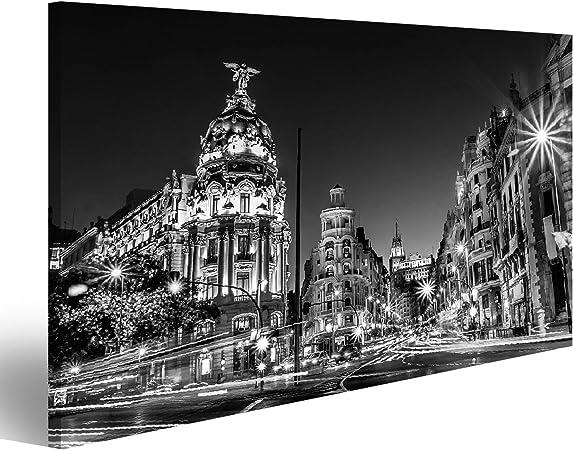 Cuadros de Salon Rayos de semáforos en la Calle Gran Vía, Principal Calle Comercial de Madrid de Noche España, Europa Cuadro Decoracion de Pared Impresión en Lienzo Formato Grande Modernos OQL-1P-N: Amazon.es: