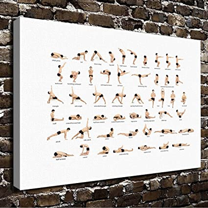 Romantic Simple COLORSFORU yoga poses posture chart Custom Canvas Print 20x16 Inch Framed Home Office Modern Painting Wall Decor Art Gift Print Poster ...