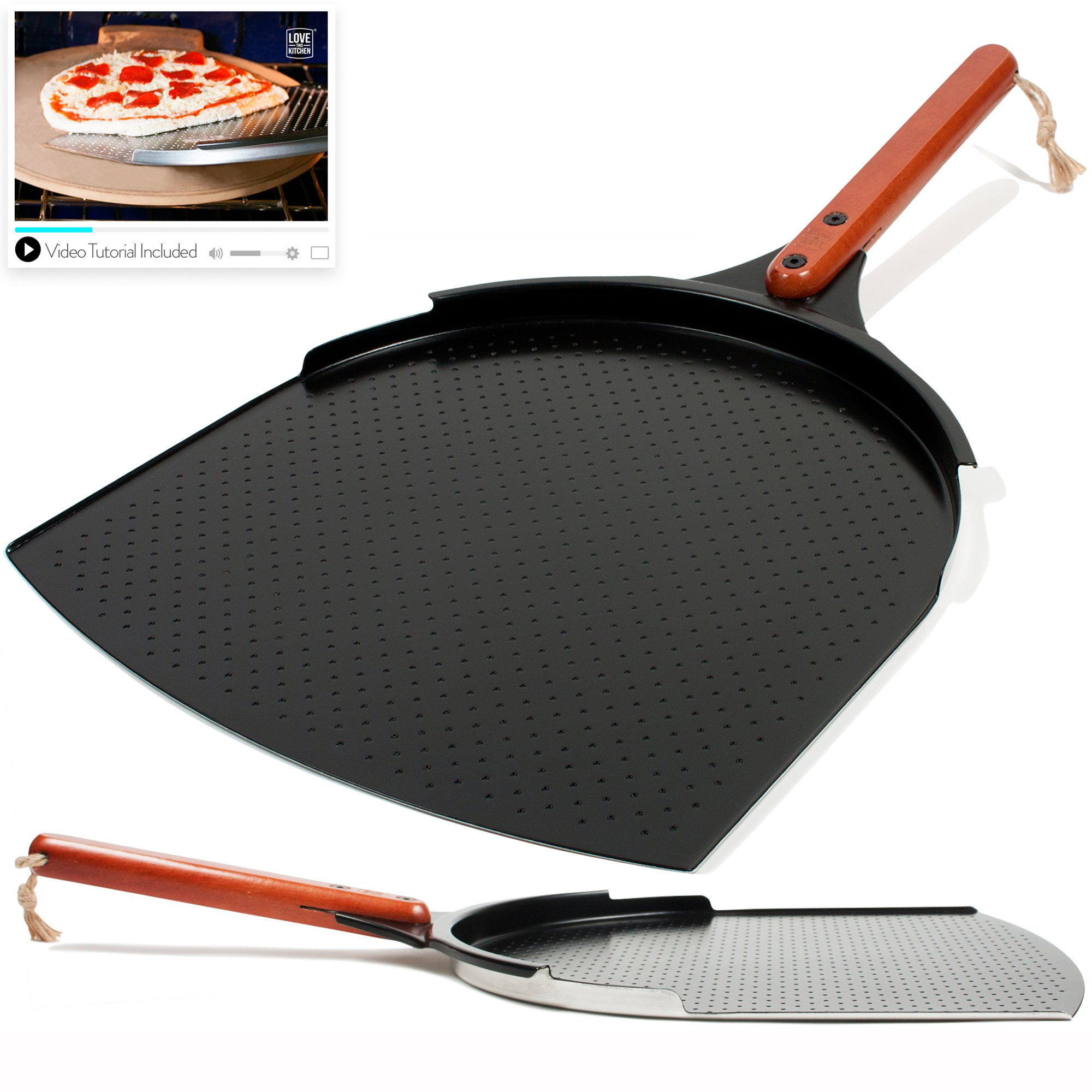 The Ultimate Pizza Making Set - 14'' x 16'' Pizza Stone, 14'' Aluminum Pizza Peel and 14'' Stainless Steel Rocker Pizza Cutter | Great for Baking Pizza, Cookies and Bread in Any Oven or Grill by Love This Kitchen (Image #3)