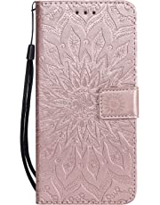 Samsung J6 Plus Case 2018, Shockproof PU Leather Flip Wallet Cases Sunflower with Stand Card Holder Slot Money Pouch Folio Gel Bumper Slim Fit Protective Skin Cover for Samsung Galaxy J6 Plus