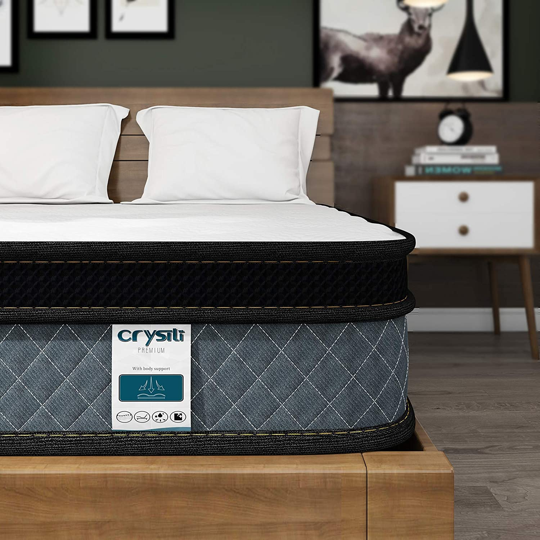Queen Mattress, Crystli 10 Inch Responsive Memory Foam Mattress, Hybrid Innerspring Mattress in a Box, Sleep Cooler with More Pressure Relief & Support