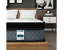 Queen Mattress, Crystli 10 Inch Memory Foam Mattress with Innerspring Hybrid Mattress in a Box Pressure Relief & Supportive Q