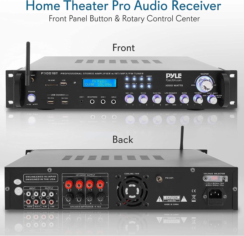 USB 3000 Watt Audio Rack Mount Home Speaker Sound Stereo Receiver  FM Radio Multi-Channel Bluetooth Power Amplifier LED Wireless Streaming Headphone Pyle P3001AT RCA Dual Microphone w// Echo
