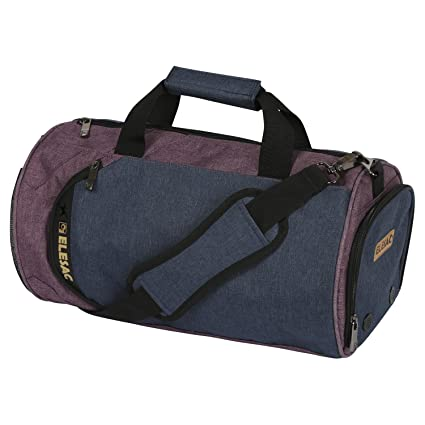 EleSac Canvas Style Round Gym Bag with Shoe Compartment for Men and Women, Sports Travel Duffel (Blue-Purple Medium)