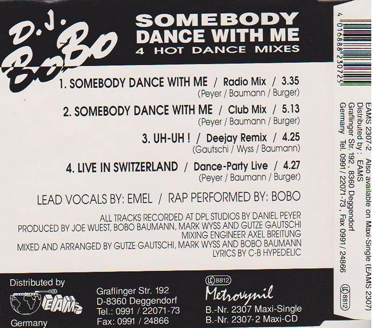 DJ Bobo - DJ BoBo - Somebody Dance With Me - EAMS - EAMS 2307-2 -  Amazon.com Music