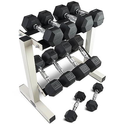 Entrenamiento de mancuernas hexagonales con revestimiento de goma W/rack 5 – 25 lb Titan