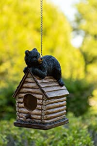 Alpine Corporation ZEN748 Resting Bear on Log Cabin Birdhouse, 8 Inch Tall, Black/Brown