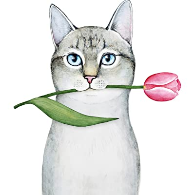 "Cute Gray Adorable Kitty Cat Cartoon - Carrying Pink Tulip Vinyl Sticker (8"" Tall): Automotive"