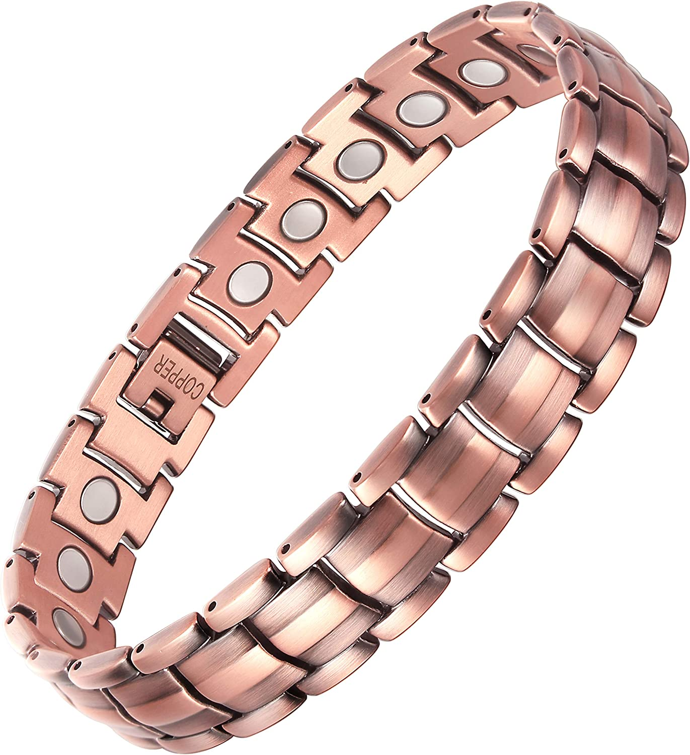 VITEROU Mens Magnetic 99.95% Pure Copper Therapy Bracelet with High Powered Magnets for Arthritis Pain Relief,3500 Gauss,8.5 Inches