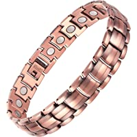 VITEROU Mens 99.95% Pure Copper Magnetic Therapy Bracelet with High Powered Magnets for Arthritis Pain Relief,3500 Gauss,8.5 Inches
