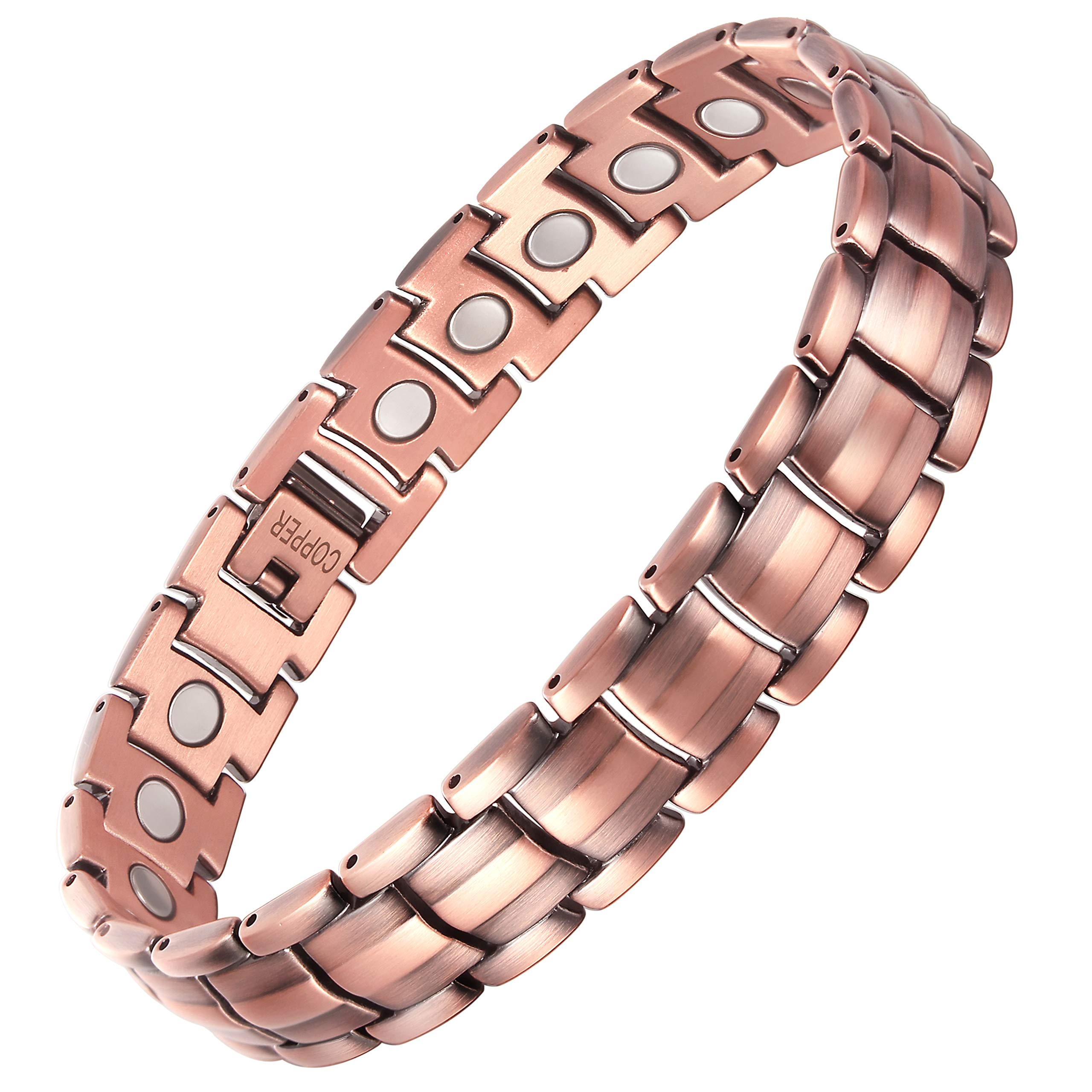 VITEROU Mens 100% Solid Pure Copper Magnetic Therapy Bracelet with Strong Healing Magnets for Arthritis Pain Relief,3500 Gauss,8.5 Inches by VITEROU