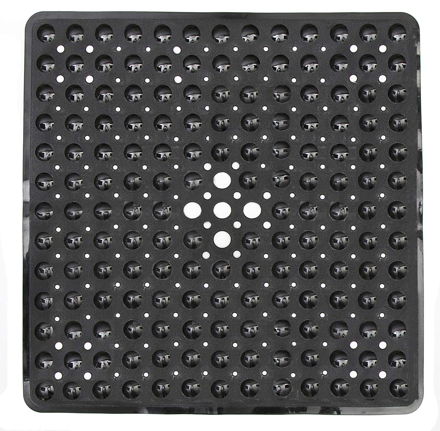 Yimobra Original Bath Shower Tub Mat Square 21x21 Inch Machine Washable Antibacterial BPA Latex Phthalate Free Bathroom Mats with Drain Holes Suction Cups Black Present Wall Hooks 3 Pack