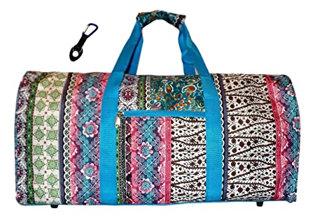 21 in Print Duffle, Overnight, Carry on Bag with Outside Pocket and Shoulder Strap Personalized – Boho Blue Trim