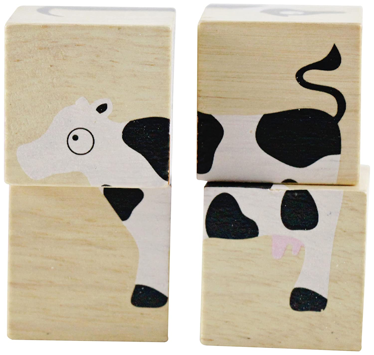 BeginAgain BuddyBlocks - Farm Animals - Wooden Blocks and Puzzle Game - Handcrafted Baby Toys for Learning - Great Educational Toys for Toddlers! by BeginAgain B1211