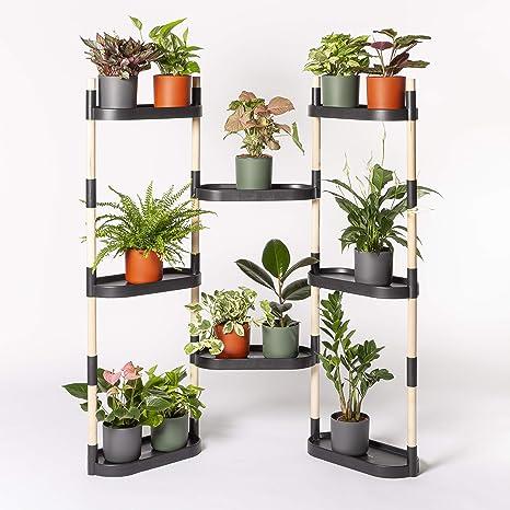 Citysens - Estantería para Plantas con riego automático, Negra, 8 bandejas
