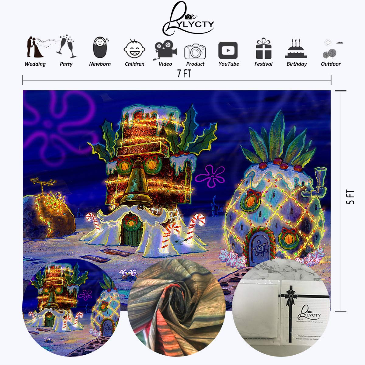 Amazon.com: LYLYCTY - Fondo de Bob Esponja de 7 x 5 pies ...