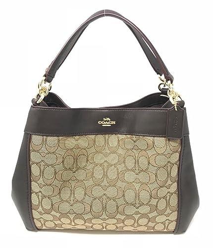 9f2471e98f94 COACH Small Lexy Shoulder Bag in Signature Jacquard Brown Khaki 67623