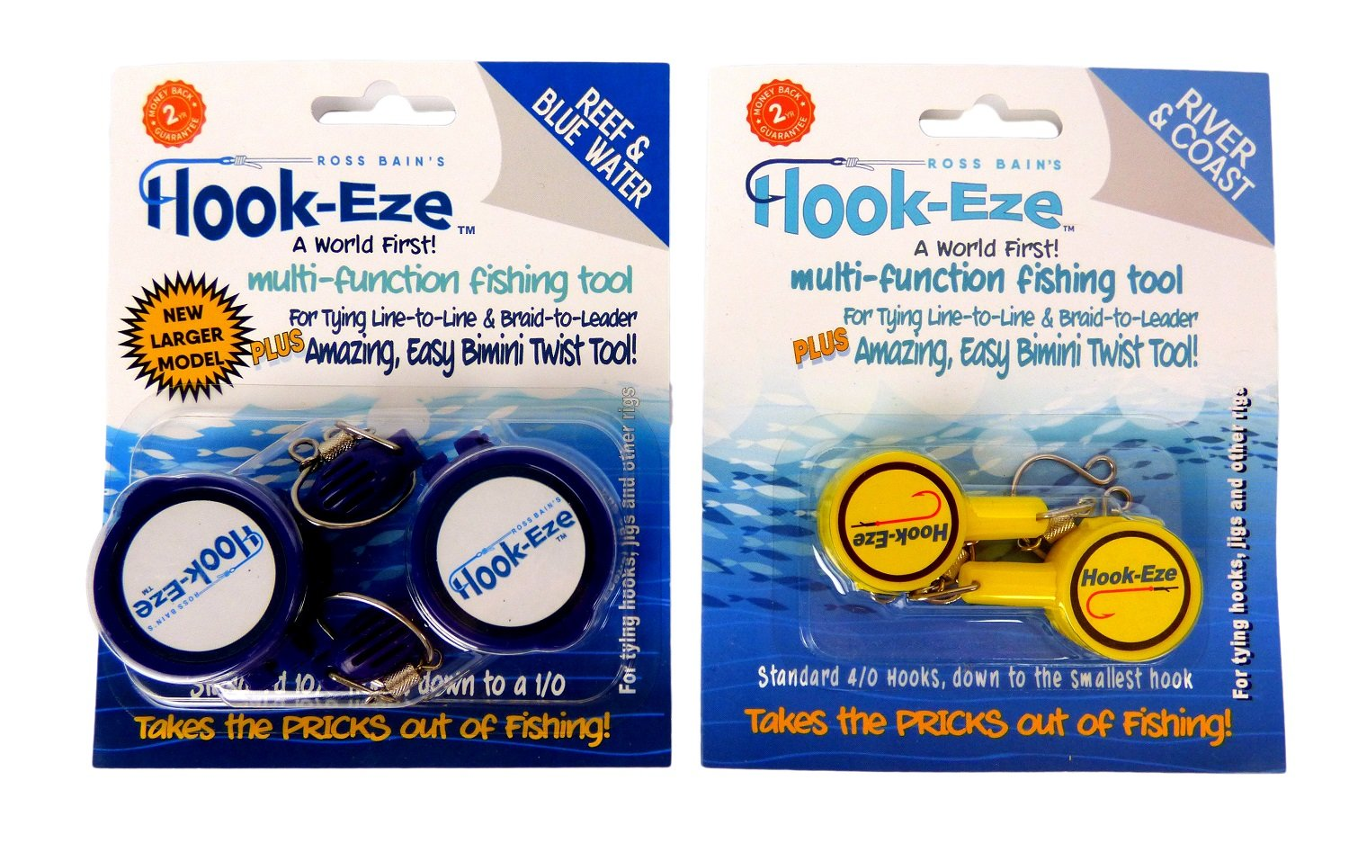 HOOK-EZE 2 x Twin Packs 1 x New Larger Model Reef & Blue Water + 1 x Original River & Coast Safe Fishing Hook Cover & Knot Tying Tool (Lg Blue + Yellow) by HOOK-EZE (Image #1)