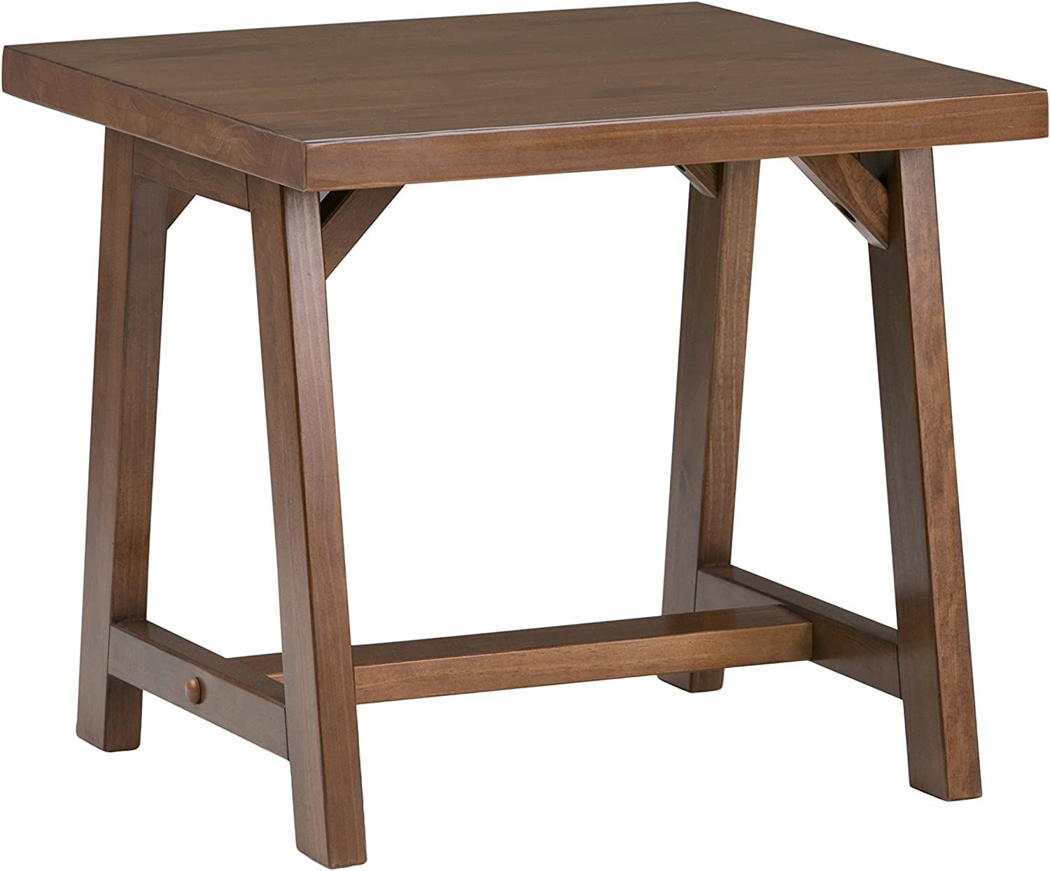 Simpli Home 3AXCSAW-02 Sawhorse Solid Wood 22 inch Wide Square Modern Industrial End Side Table in Medium Saddle Brown