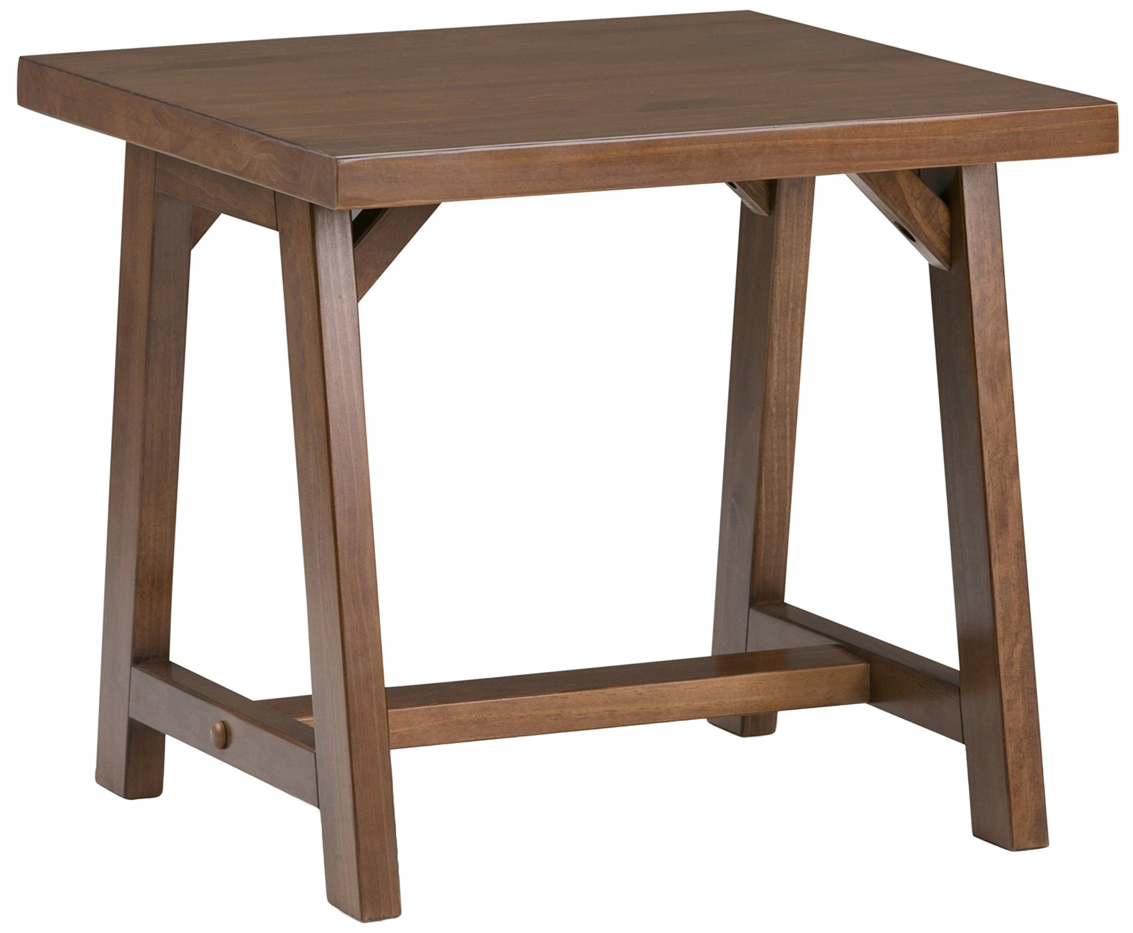 Simpli Home Sawhorse Solid Wood End Side Table, Medium Saddle Brown