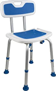 PCP Shower Chair Safety Seat, Adjustable Height, Stability Grip Traction, Medical Grade Senior Living Spa Aid, Mobility Recovery Support, White/Blue