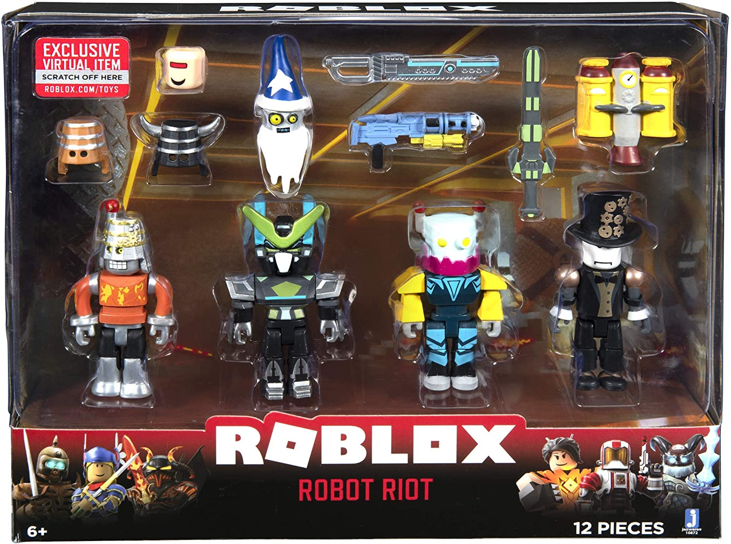 Robot Model Roblox Amazon Com Roblox Action Collection Robot Riot Four Figure Pack Includes Exclusive Virtual Item Toys Games