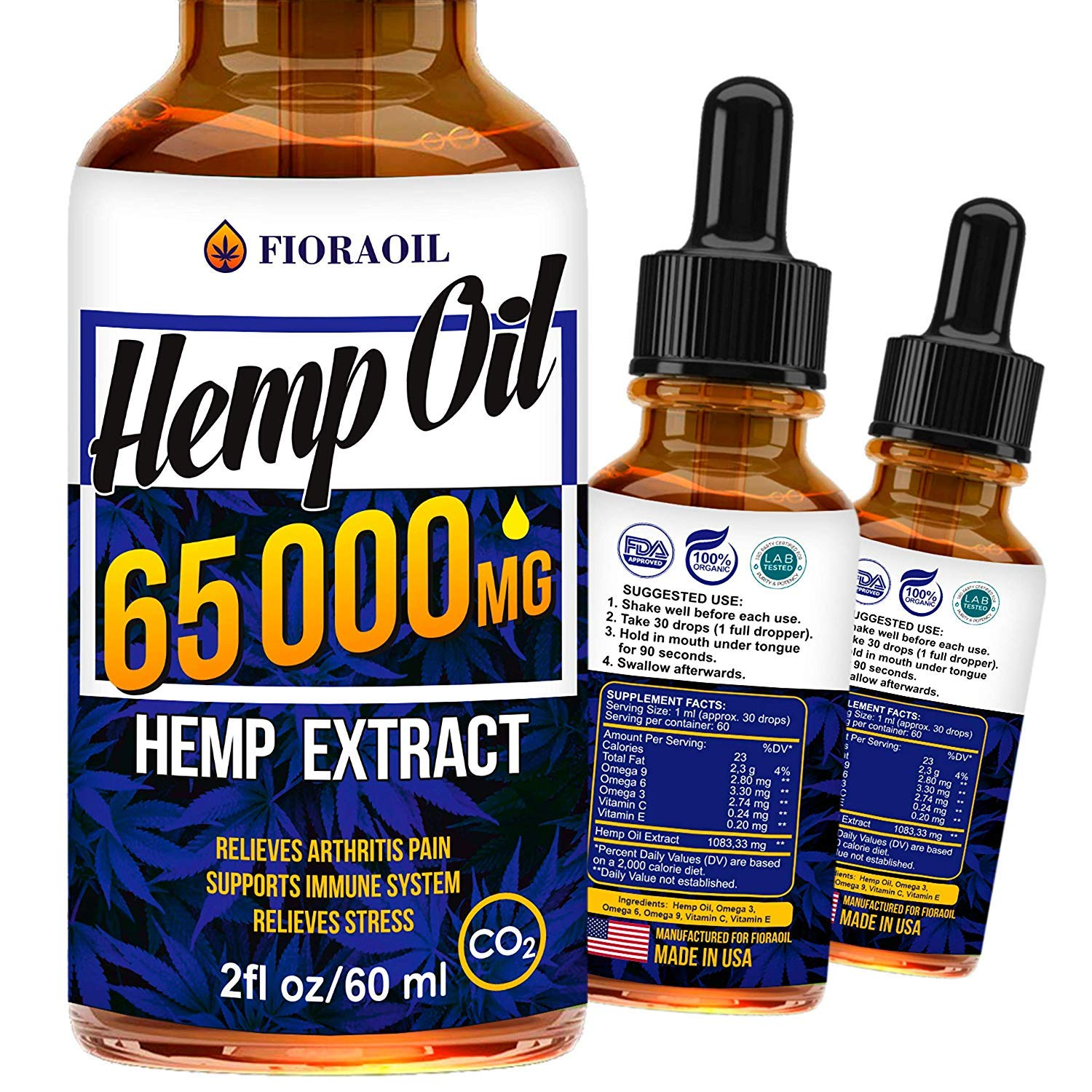Hemp Oil Drops 65 000 MG - Effective Pain Reliever - Anti-Stress - Made in USA by Hempio