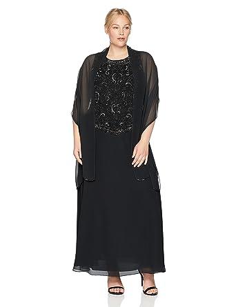 J Kara Women\'s Plus Size Beaded Gown with Scarf