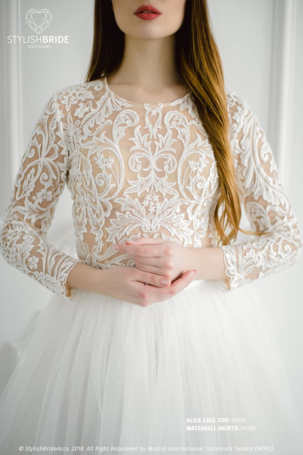 ffa84541763bc Amazon.com: Alice Lux Lace Top Wedding, New collection Lace crop top ...