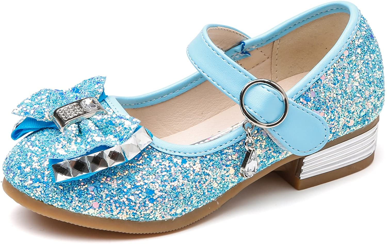 Yudesun Girls Dance Shoes Children Kids Mary Jane Sandals Princess Prom Dress Up Flat Low Heel Rhinestone Casual Party