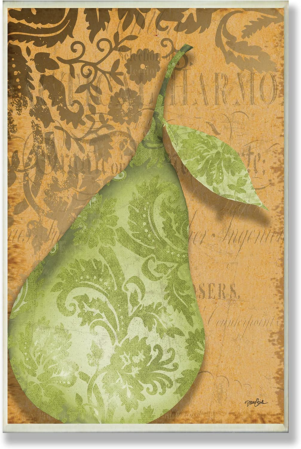 The Stupell Home Decor Collection Green Pear Damask Kitchen Wall Plaque