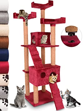 Leopet - Árbol rascador para Gatos con Cuevas y escaleras - Color bordó: Amazon.es: Hogar