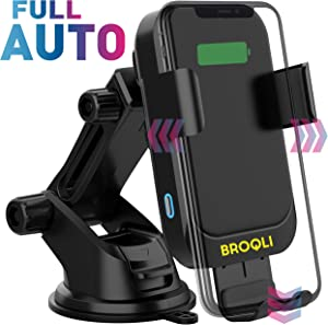 BROQLI Fast Wireless Car Charger Mount Kit, One Touch Automatic Clamping Qi Cell Phone 10W Power Charging Air Vent Dashboard Holder iPhone X/Xs Max/XR/8/8+,Galaxy S10/S10+/S9/S9+/S8/S8+ (HIMAN Black)
