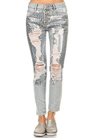 daf6101d058 MeshMe Womens Penelope - Silver Toned Cool Tone Sequin Jean Trousers Trendy  Vintage Chic Outfit Bottoms Retro Rustic Ripped Torn Shiny Sequined  Distressed ...