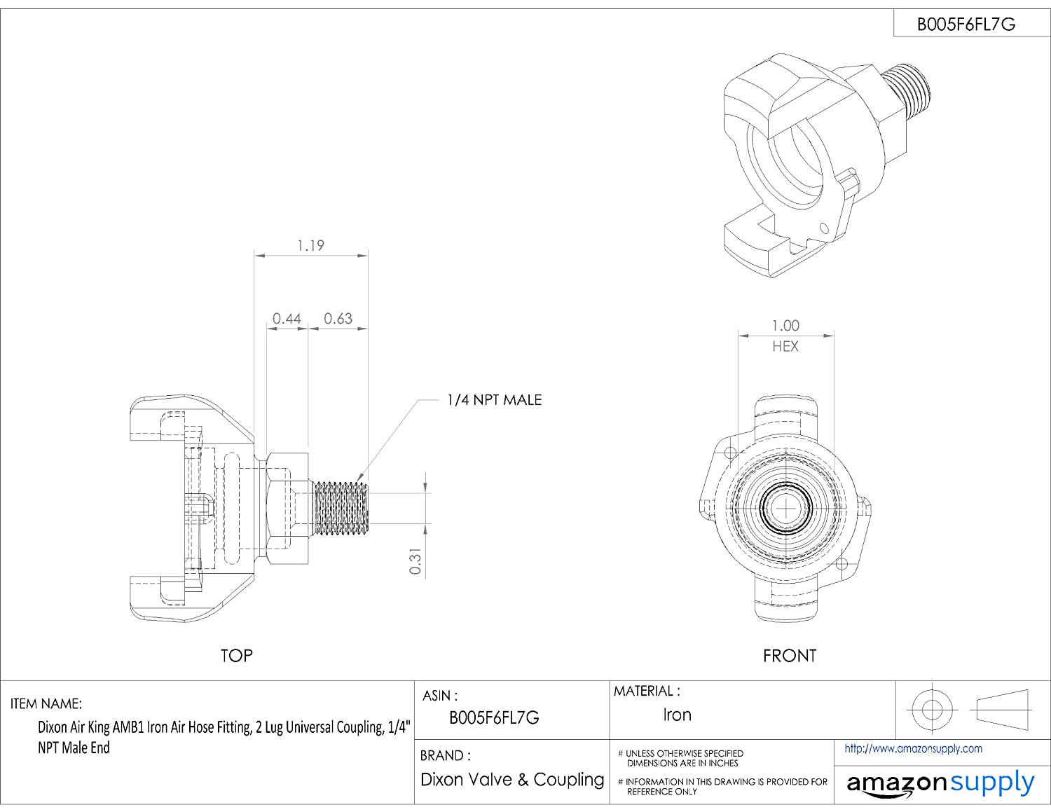 Dixon Air King Am12 Iron Hose Fitting 2 Lug Universal Coupling Chicago Pneumatic Wiring Diagram 1 Npt Male End Industrial Scientific