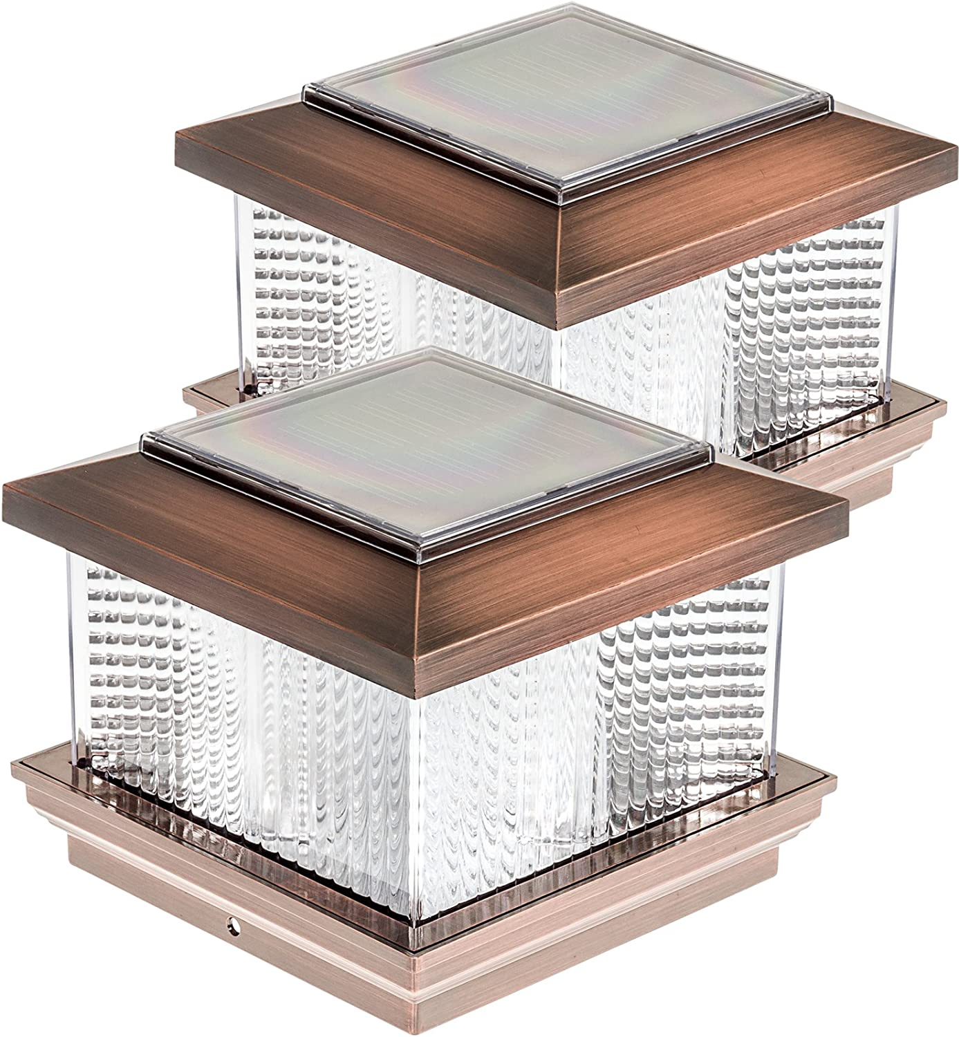 GreenLighting Solar LED Post Cap Light for 5 x 5 PVC Posts w//Wood Post Adapter Copper 2 Pack