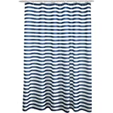 "FindNew Mildew-Free Water-Repellent/Waterproof Eco-friendly Odor Resistant Fabric Long Shower Curtain for Bath with Hooks (72"" X 72"", Blue Strip)"