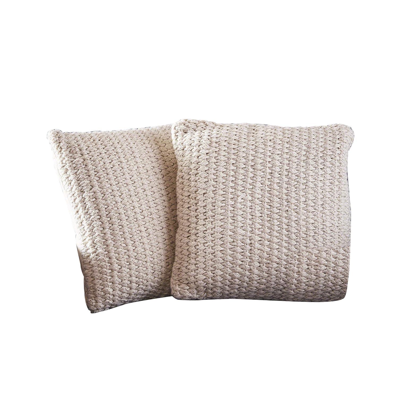Great Deal Furniture Gloria アイボリー フェイク糸枕 (2個セット)  B07MY49DL2