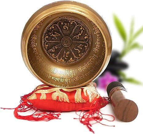 Cuenco Tibetano Hecho a Mano en Nepal Ø11.43cm – Cojín, Mazo de Madera, Caja Lokta [Garantía Satisfacción 30 Días]: Amazon.es: Instrumentos musicales